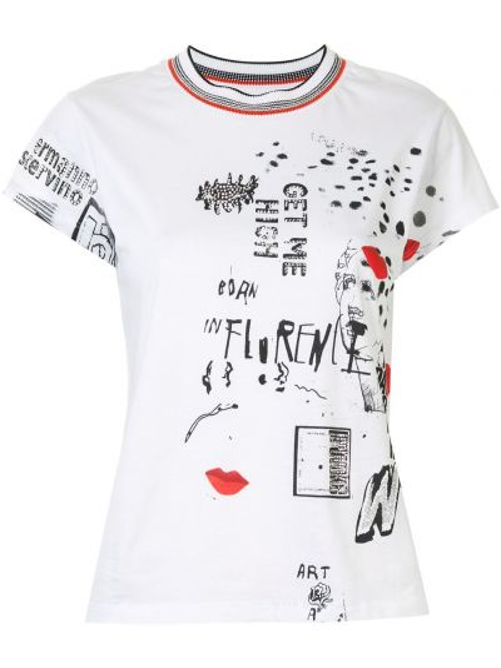 Прямая белая футболка с вырезом Ermanno Scervino