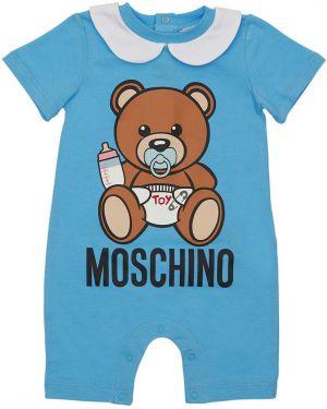 Z rękawami bawełna bawełna niebieski pajacyk Moschino