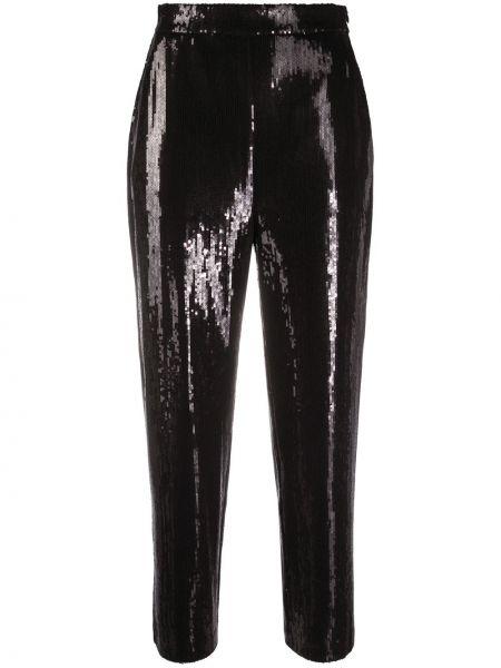 Черные с завышенной талией укороченные брюки из вискозы Karl Lagerfeld