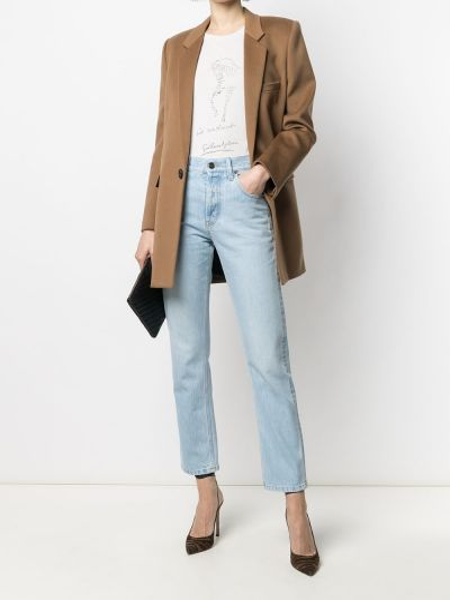 Однобортное коричневое пальто с карманами Saint Laurent