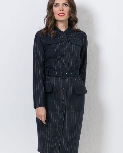 Комбинированное с рукавами платье макси с поясом Modellos