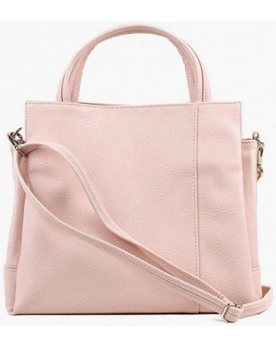 Розовая кожаная сумка с ручками медведково