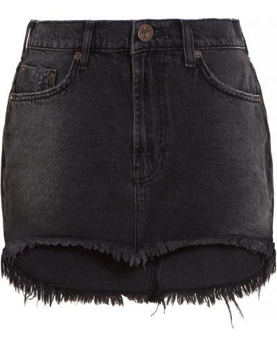 Хлопковая черная юбка мини с бахромой One Teaspoon
