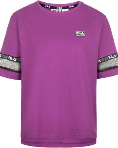Хлопковая свободная фиолетовая спортивная футболка свободного кроя Fila