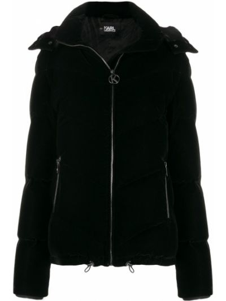 Куртка с капюшоном черная бархатная Karl Lagerfeld