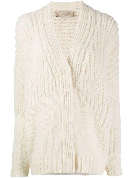 Вязаный кардиган крупной вязки белый Maison Flaneur