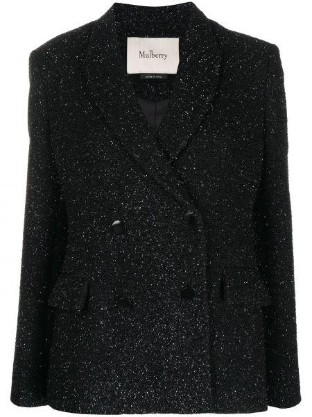 Черный удлиненный пиджак твидовый двубортный Mulberry
