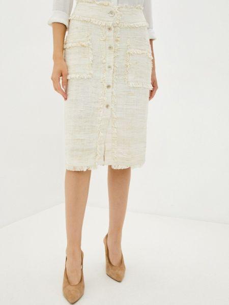 Бежевая прямая юбка карандаш Laroom
