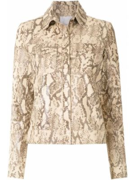 Кожаная куртка на пуговицах с карманами НК