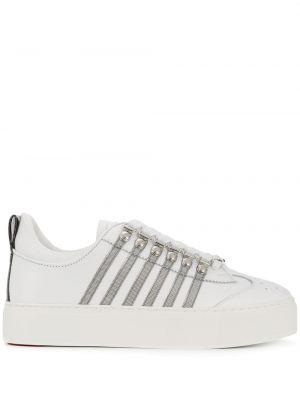Кожаные кроссовки с перфорацией белый Dsquared2