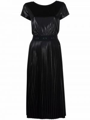 Прямое черное платье мини с короткими рукавами Armani Exchange