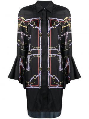 Шелковая черная классическая рубашка с воротником Khaite