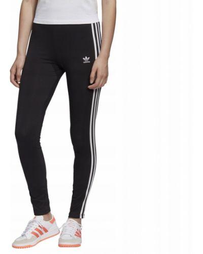 Czarne legginsy bawełniane w paski Adidas