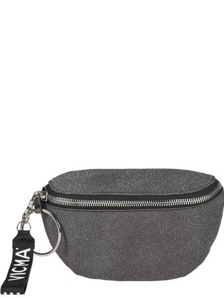 Кожаная сумка - серебряная Vic Matie