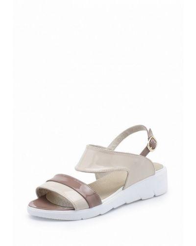 Бежевые кожаные сандалии Tops