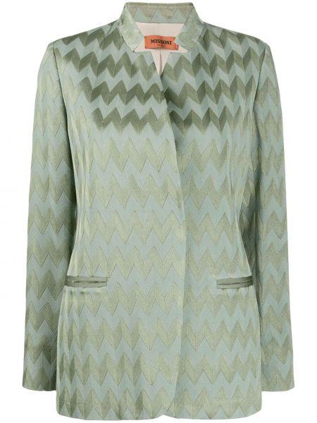 Прямой шерстяной зеленый удлиненный пиджак Missoni