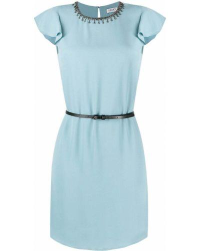 Прямое синее платье мини с поясом Liu Jo