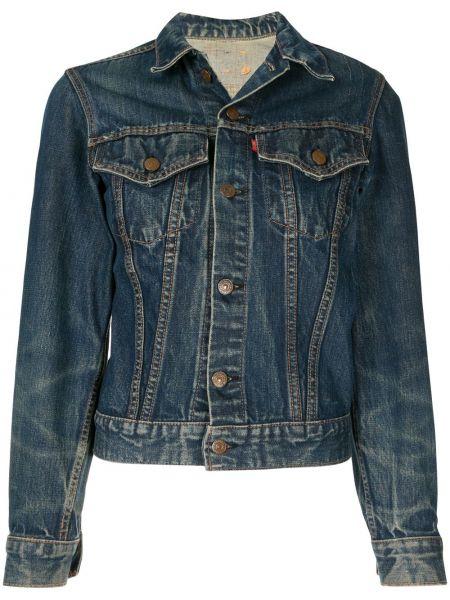 Классическая прямая синяя джинсовая куртка на пуговицах Fake Alpha Vintage