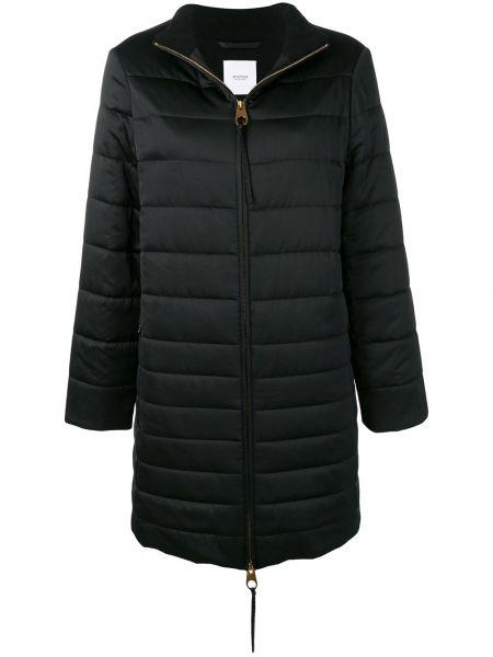 Черное шерстяное пальто на молнии с карманами Agnona