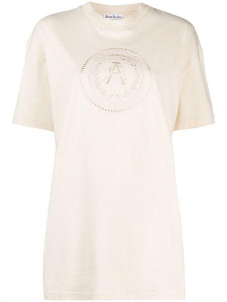 Хлопковая футболка с вырезом с вышивкой Acne Studios