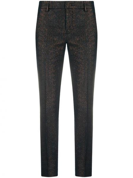 Черные укороченные брюки на пуговицах с высокой посадкой с декоративной отделкой Pt01