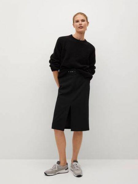 Czarna spódnica ołówkowa z paskiem Mango