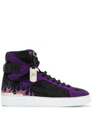 Czarny wysoki sneakersy koronkowy sznurowany Philipp Plein