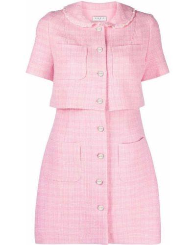 Różowa sukienka mini bawełniana Sandro Paris