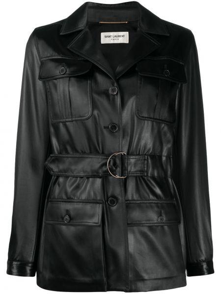 Однобортное черное длинное пальто с карманами Saint Laurent