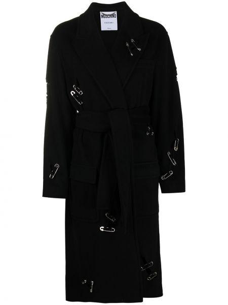 Шерстяное черное длинное пальто с поясом Moschino