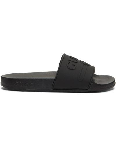 Czarne klapki vintage Gucci