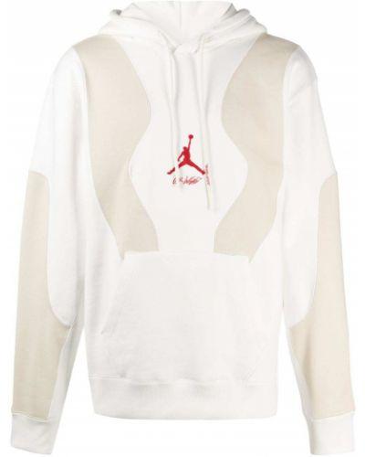 Biała bluza długa z kapturem z haftem Nike X Off White