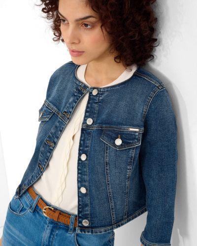Niebieska kurtka jeansowa bawełniana zapinane na guziki Orsay