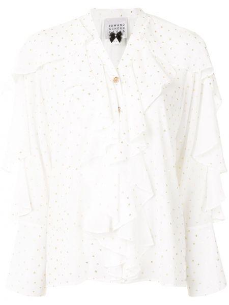 С рукавами белая блузка с длинным рукавом с оборками с V-образным вырезом Edward Achour Paris