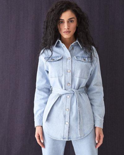 Хлопковая синяя джинсовая рубашка Zarina