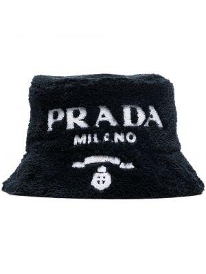 Biała czapka bawełniana Prada