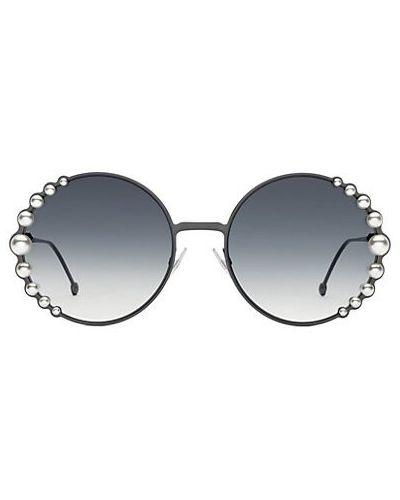 Солнцезащитные очки круглые металлические с жемчугом Fendi