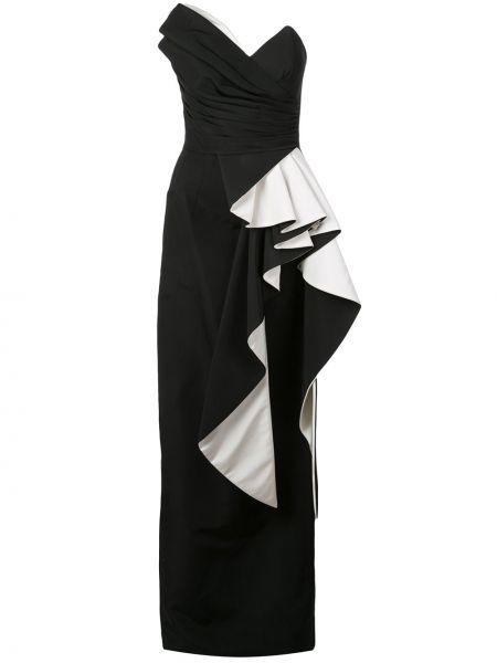 Черное асимметричное платье с оборками с вырезом Rubin Singer