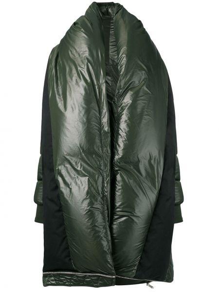 Зеленое длинное пальто оверсайз с капюшоном Unravel Project