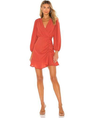 Льняное красное платье мини бохо Minkpink