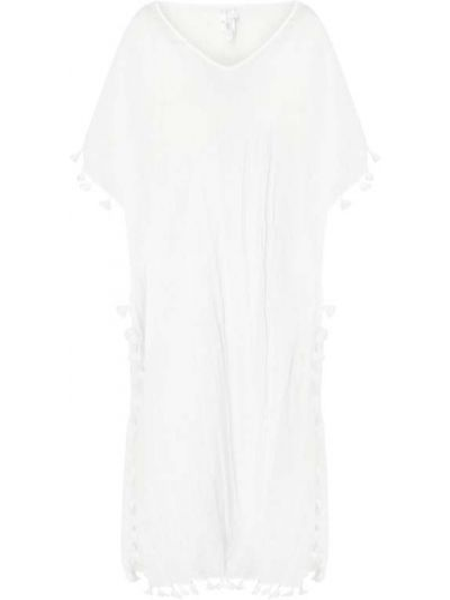 Bawełna biały tunika z dekoltem z fałdami Seafolly
