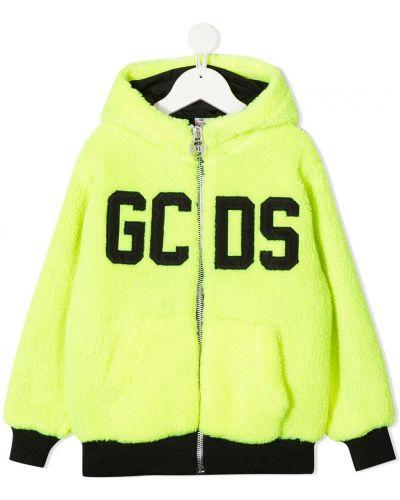 С рукавами желтая длинная куртка с капюшоном Gcds Kids