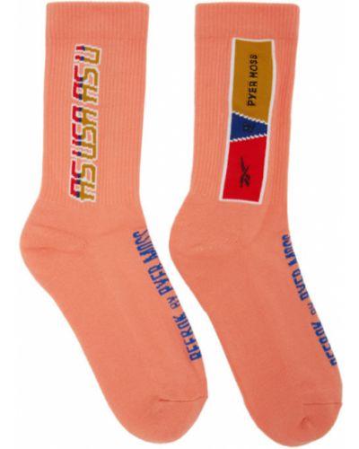 Хлопковые розовые носки высокие стрейч с манжетами Reebok By Pyer Moss