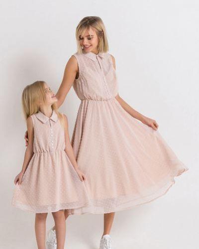Розовое шифоновое нарядное платье Vovk