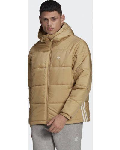 Бежевая утепленная куртка с капюшоном Adidas