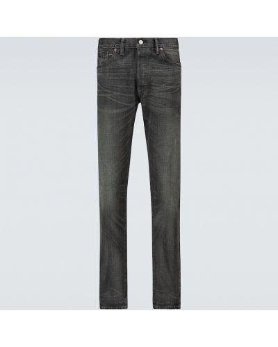 Хлопковые черные джинсы с манжетами узкого кроя Rrl