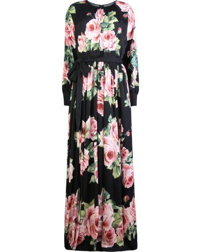 Шелковое вечернее платье с поясом с вырезом Dolce & Gabbana