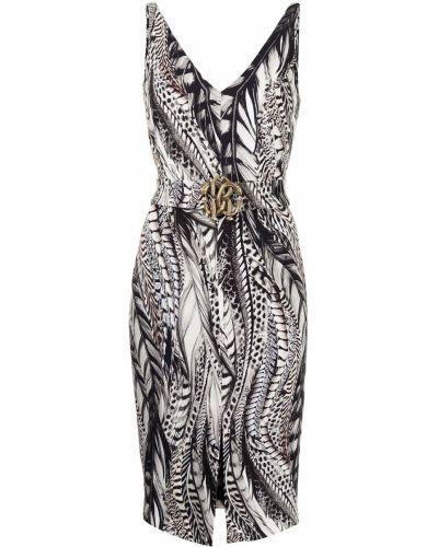 Коричневое платье без рукавов с вырезом Roberto Cavalli