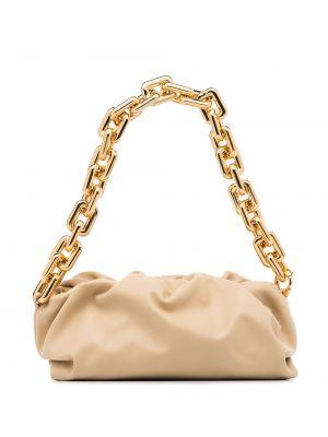 Светло-розовая с ремешком сумка на цепочке из натуральной кожи Bottega Veneta