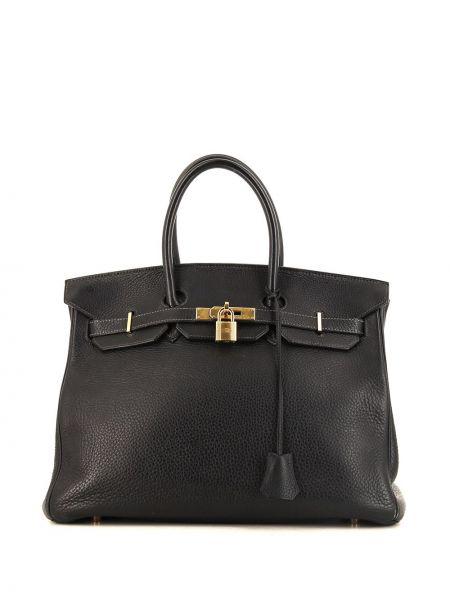 Золотистая черная кожаная сумка с ручками Hermes